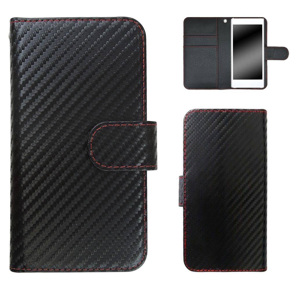 ZenFone 4 Selfie ZD553KL ケース カバー スマホケース 手帳型 シンプル おしゃれ カーボン柄 かっこいい 黒 スタンド ベルト付き オーダー カーボンレッドステッチ AM_OD_L