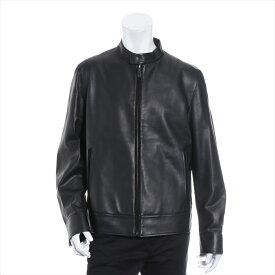 【中古】ベルルッティ レザー ライダースジャケット サイズ50 メンズ ブラック シングル