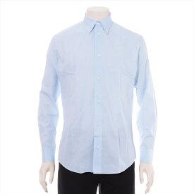 【中古】エルメス コットン シャツ 15/38 メンズ ブルー セリエボタン H柄