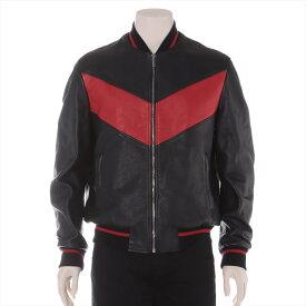 【中古】ジャンニヴェルサーチ 17年 カーフスキン レザージャケット 48 メンズ レッド×ブラック バックプリント