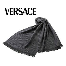 [ヴェルサーチ]VERSACE ウールマフラー(ブラック×グレー) VS-380【ストール メデューサ ロゴ ユニセックス】【あす楽対応_関東】