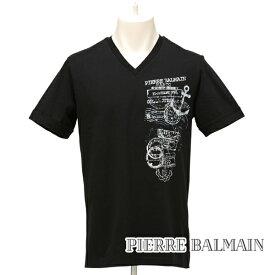 [ピエールバルマン]PIERRE BALMAIN Tシャツ(ブラック) PB-202 【半袖 メンズ Vネック プレゼント父の日バレンタインクリスマス】【あす楽対応_関東】