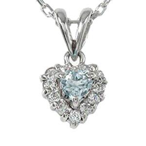 送料無料 アクアマリン ハートネックレス プラチナ900 ダイヤモンド ペンダント 取り巻き チャーム pt900 プレゼント ギフト 3月 誕生石