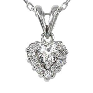 ダイヤモンド ハートネックレス プラチナ900 ペンダント 取り巻き チャーム pt900 プレゼント ギフト 母の日 4月 誕生石 キャッシュレス ポイント還元
