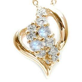 ブルームーンストーン オープンハート ダイヤモンド 星 スター ネックレス ペンダント k10ピンクゴールド プレゼント ギフト 母の日 6月 誕生石 キャッシュレス ポイント還元