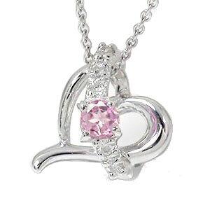 送料無料 ピンクトルマリン ハート ネックレス k18ホワイゴールド ダイヤモンド 流れ星 チャーム レディース 誕生日 2021 記念日 贈り物 プレゼントギフト エトワール 入学祝い 首飾り 10月 誕