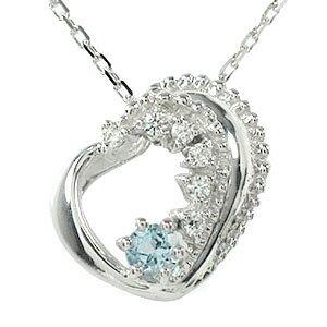 アクアマリン ネックレス プラチナ ダイヤモンド カラーストーン ハート 3月 誕生石 美しい モチーフ ペンダント チャーム送料無料