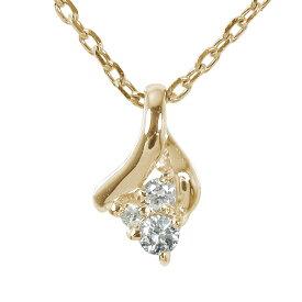 【送料無料】ダイヤモンド ネックレス ペンダント トリロジー スリーストーン k10ホワイトゴールドチャーム レディース誕生日 2021 記念日プレゼント 4月 誕生石