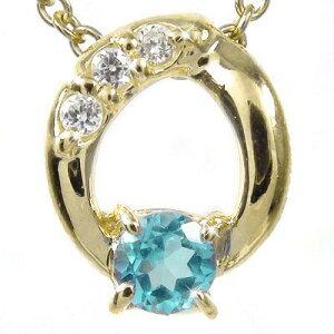 【送料無料】ブルートパーズ ダイヤモンド オーバルネックレス チャーム K10イエローゴールド プレゼント ギフト 母の日 11月 誕生石