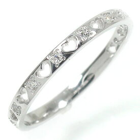 ハートエタニティーリング 18金 指輪 メンズ ピンキーリング ダイヤモンド 0.10ct