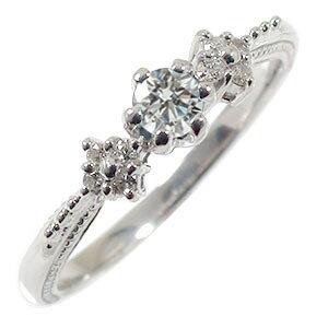 【送料無料】ピンキーリング ダイヤモンド 結婚指輪 婚約指輪 エンゲージリング 花 フラワーモチーフ 花束 18金