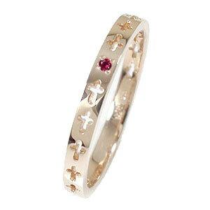 【送料無料】クロスエタニティーリング 18金 ピンキーリング ルビー 結婚指輪 メンズ マリッジリング