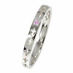 ピンクサファイア エタニティーリング クロス プラチナ900 ピンキーリング 結婚指輪 マリッジリング【送料無料】