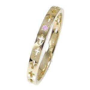 【送料無料】エタニティーリング クロス ピンクサファイア 10金 ピンキーリング 結婚指輪 メンズ マリッジリング
