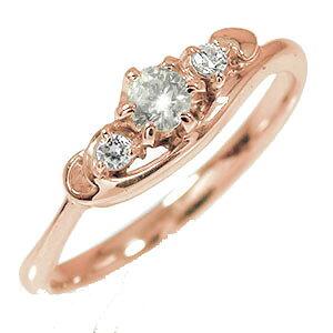 【送料無料】ピンキーリング 18金 ダイヤモンド トリロジー ハート 結婚指輪 婚約指輪 エンゲージリング 誕生石