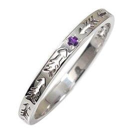 アメジスト リング プラチナ インディアンジュエリー ネイティブアメリカン ピンキー 誕生石 矢 アロー 大人 エタニティ 結婚指輪 マリッジリング 送料無料