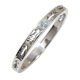 【送料無料】ブルートパーズ リング プラチナ 誕生石 インディアンジュエリー ネイティブアメリカン ピンキー 矢 アロー 大人 エタニティ 結婚指輪 メンズ マリッジリング