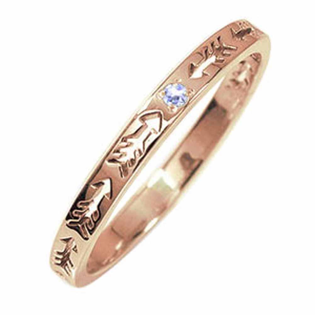 ピンキーリング 18金 タンザナイト インディアンジュエリー ネイティブアメリカン 誕生石 矢 アロー 大人 エタニティ 結婚指輪 マリッジリング【送料無料】