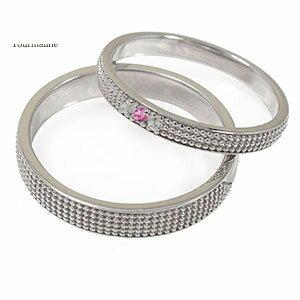 ピンクトルマリン リング プラチナ マリッジリング ミルグレイン 2本セット 結婚指輪 ペア 指輪 誕生石 レディース メンズ セット価格 送料無料