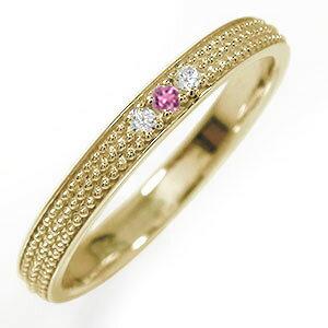 マリッジリング 10金 ピンクトルマリン 誕生石 ミルグレイン 結婚指輪 指輪 レディース 送料無料 母の日 花以外
