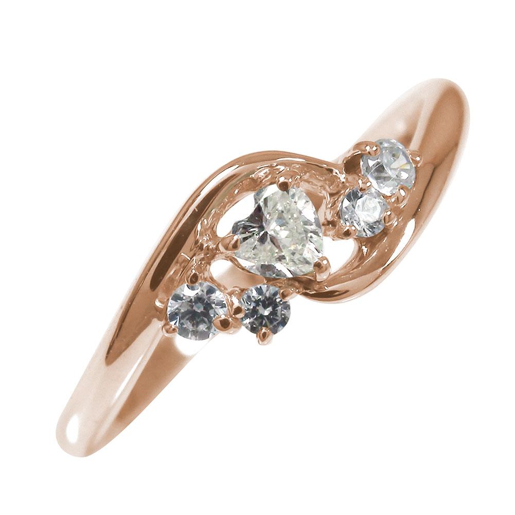 【送料無料】ピンキーリング 18金 ハート ダイヤモンド 絆 結婚指輪 婚約指輪 エンゲージリング ハート 誕生石