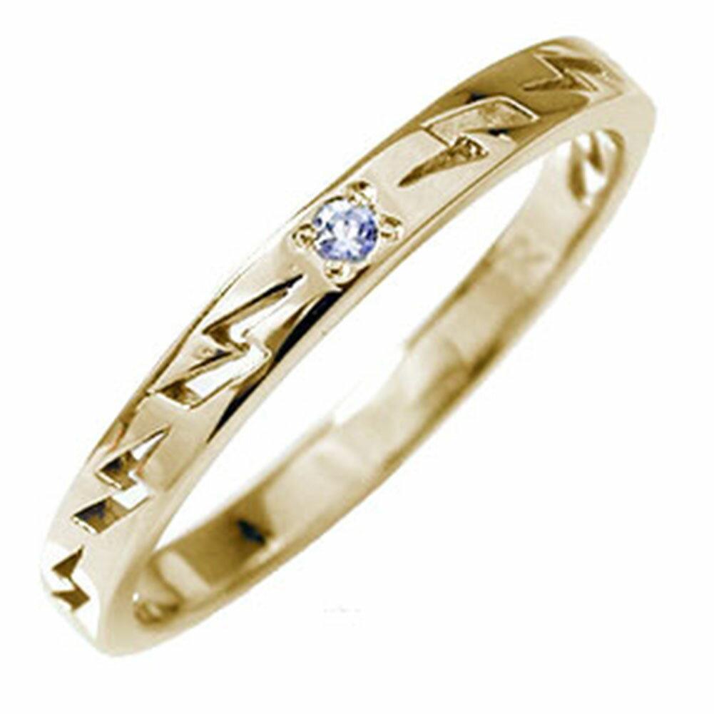 インディアンジュエリー ネイティブアメリカン 10金 ピンキーリング 誕生石 雷 稲妻 サンダー 大人 エタニティ 結婚指輪 マリッジリング タンザナイト【送料無料】