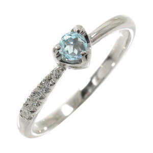 アクアマリン ダイヤモンド おしゃれ かわいい 一粒 指輪 リング ハート 流れ星 k18ホワイトゴールド ピンキーリング 送料無料 キャッシュレス ポイント還元