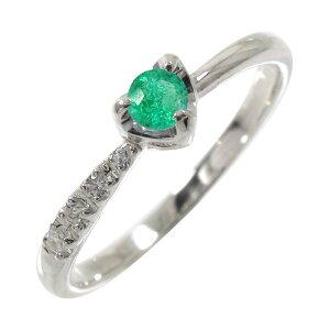 エメラルド ダイヤモンド 一粒 指輪 リング ハート 流れ星 k18ホワイトゴールド ピンキーリング パワーストーン5月 誕生石 送料無料