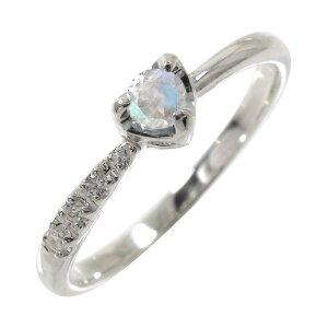 ブルームーンストーン ダイヤモンド 一粒 指輪 リング ハート 流れ星 k10ホワイトゴールドピンキーリング ご入学 ご卒業 ご就職祝い 送料無料 キャッシュレス ポイント還元