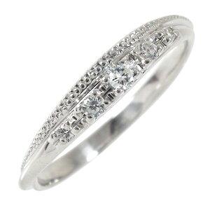 【送料無料】ダイヤモンド 18金 結婚指輪 婚約指輪 エンゲージリング ダイヤモンド ミル ピンキーリング