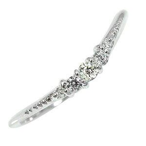 【送料無料】ピンキーリング ダイヤモンド 10金 誕生石 結婚指輪 婚約指輪 エンゲージリング シンプル リッチ ウェーブデザイン