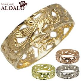 ハワイアンジュエリー リング ペアリング ゴールドリング 透かしスクロールゴールドリング メンズ レディース 指輪 全4色 14K ゴールド ハワイ製 スクロール 2号-22号