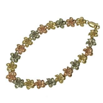 Hawaiian jewelry / 14K3 color gold frangipani bracelet