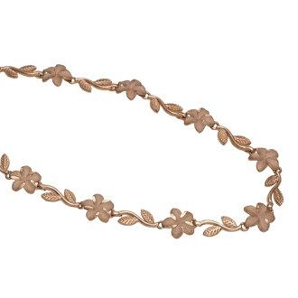 夏威夷人珠寶手鐲14K pinkugorudopurumeria&葉手鐲女士黄金
