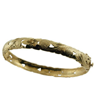 Hawaiian jewelry 14k gold watermarks scroll bracelet bangle