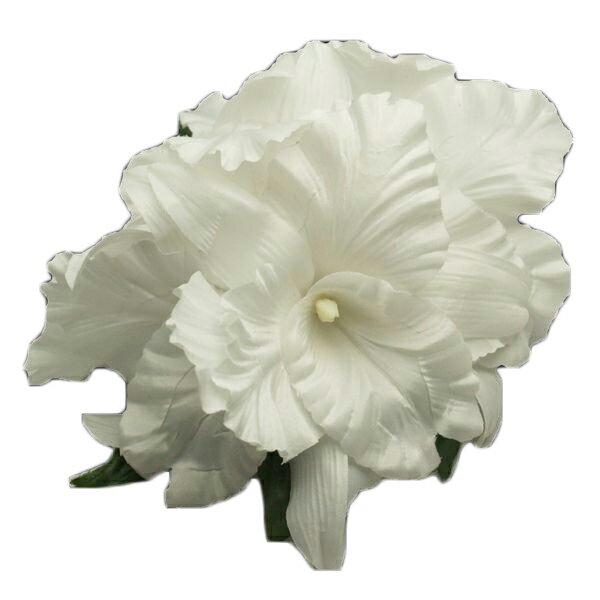 ハワイアン ヘアクリップ フラ フラダンス衣装 ゴージャスオーキッドヘアクリップ Lサイズ ホワイト