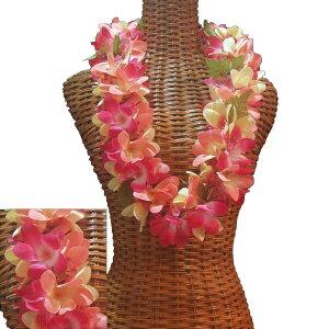ハワイアン レイ フラ フラダンス衣装 フラワーレイ ボリュームのある小花付 プルメリアダブルレイ ピンクイエロー