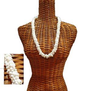ハワイアン レイ フラ フラダンス衣装 フラワーレイ 小さな貝を集めて作られる モンゴシェルレイ ホワイト