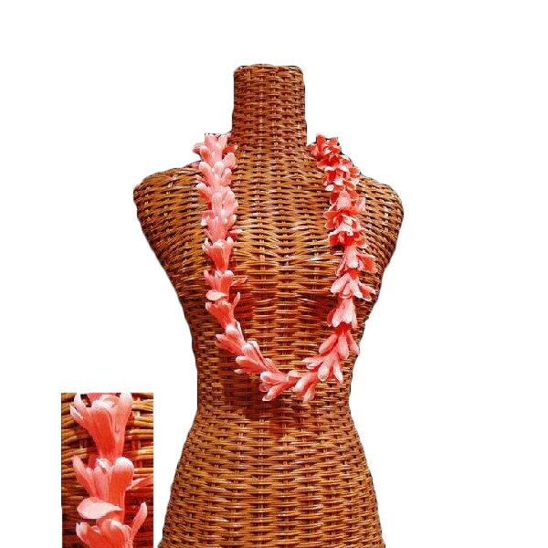 ハワイアン レイ フラ フラダンス衣装 フラワーレイ アイランドチューブローズレイ コーラルピンク