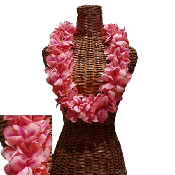 ハワイアン レイ フラ フラダンス衣装 フラワーレイ アロハプルメリアダブルレイ ピーチ