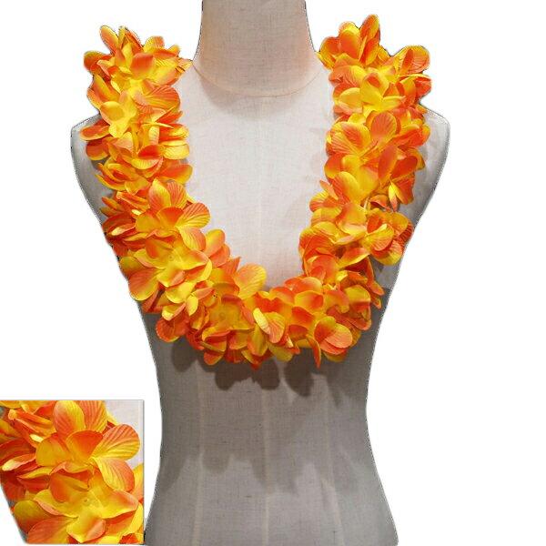 ハワイアン レイ フラ フラダンス衣装 フラワーレイ プルメリア ダブルレイ オレンジ