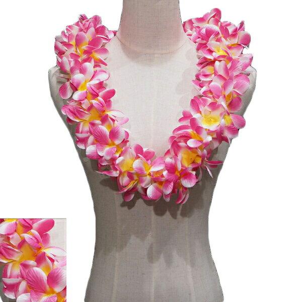 ハワイアン レイ フラ フラダンス衣装 フラワーレイ プルメリア ダブルレイ チェリーピンク&イエロー