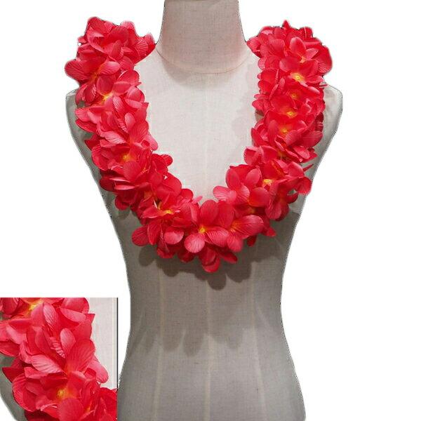 ハワイアン レイ フラ フラダンス衣装 フラワーレイ プルメリア ダブルレイ レッド