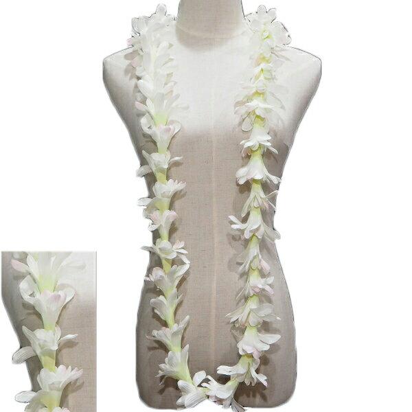 ハワイアン レイ フラ フラダンス衣装 フラワーレイ アイランドチューブローズロングレイ ホワイト