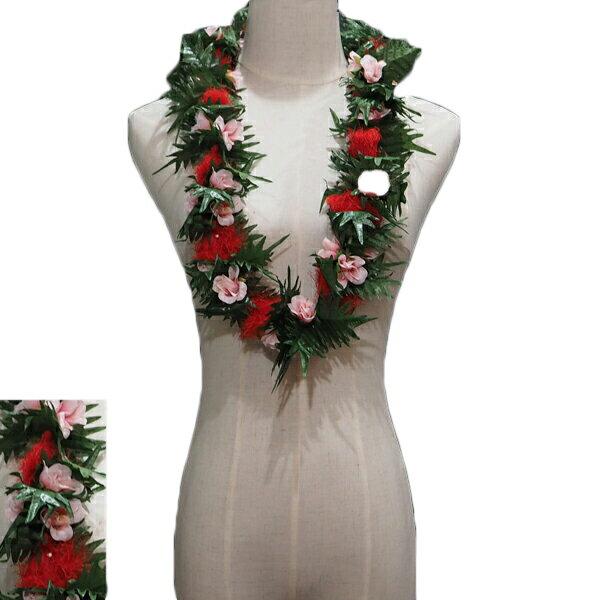 ハワイアン レイ フラ フラダンス衣装 フラワーレイ オヒアレフアダブルローズレイ レッド&ピンク