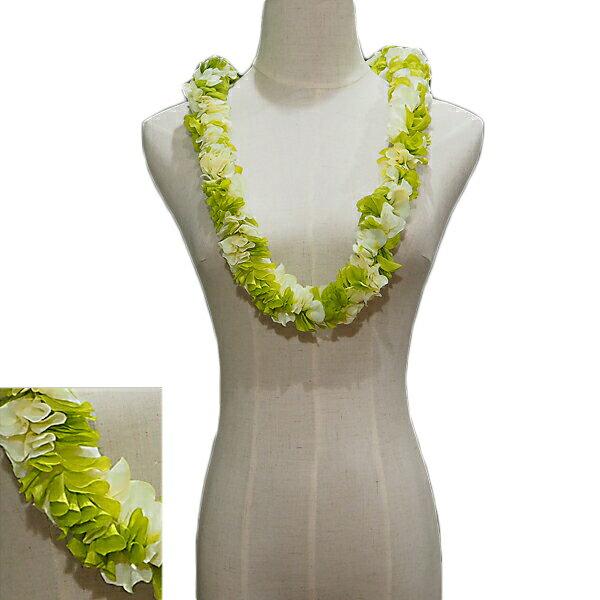 ハワイアン レイ フラ フラダンス衣装 フラワーレイ ニュージンジャーダブルレイ グリーン&ホワイト