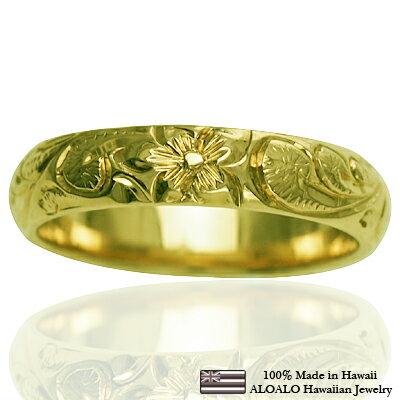 ハワイアンジュエリー リング 指輪 オーダーメイド 1.5mm厚 幅4mm 14K ゴールド グリーンゴールド バレルリング ハワイ製 手彫りリング メンズ レディース 結婚指輪 マリッジリング ウェディングリング 2号-28号