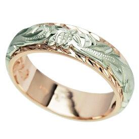 ハワイアンジュエリー リング 指輪 オーダーメイド 幅6mm 14K ゴールド 2トーンリング グリーンピンクゴールド バレルリング ハワイ製 手彫りリング メンズ レディース 結婚指輪 マリッジリング ウェディングリング 2号-28号