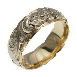 ハワイアンジュエリー リング 指輪 オーダーメイド 幅8mm 14K ゴールド 2トーンリング イエローホワイトゴールド ハワイ製 手彫りリング メンズ レディース 結婚指輪 マリッジリング ウェディングリング 2号-28号