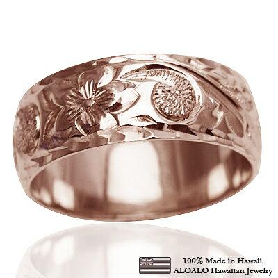 ハワイアンジュエリー リング 指輪 オーダーメイド しっかりした1.75mm厚 幅8mm 14K ゴールド ピンクゴールド バレルリング ハワイ製 手彫りリング メンズ レディース 結婚指輪 マリッジリング ウェディングリング 2号-28号